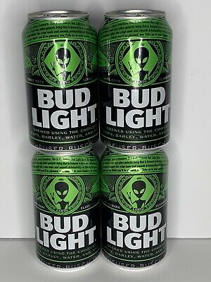 Lot of Four Empty Rare Bud Light Earth Cans Aliens Area 51 Emptied From Bottom