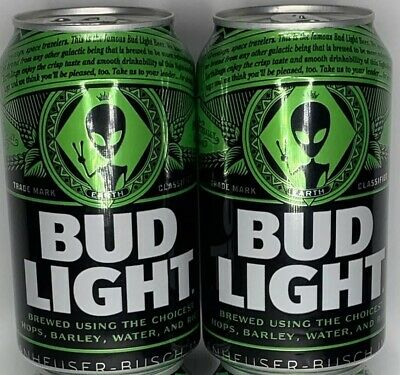 Lot of Two Empty Rare Bud Light Earth Cans Aliens Area 51 Emptied From Bottom