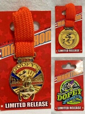 Lot of 3 Walt Disney World Marathon 2014 Pins - Goofy, Dopey, Mickey