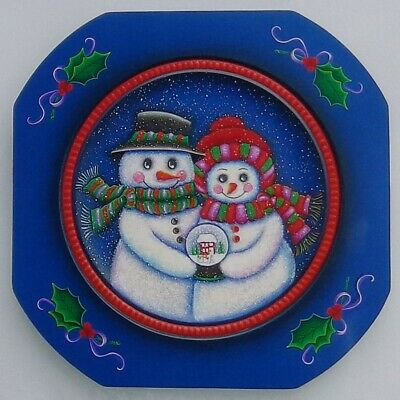 """Robin Mani tole painting pattern """"Snow Couple's Gift - Christmas Plate"""""""