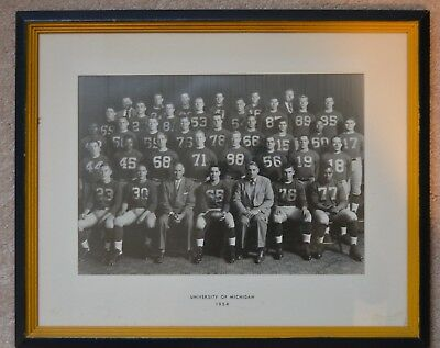 """Early! 1954 Michigan Wolverines Team Photo Football Framed 15 3/4"""" X 19 1/4"""""""