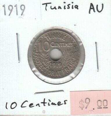 Tunisia 10 Centimes 1919 AU Almost Uncirculated