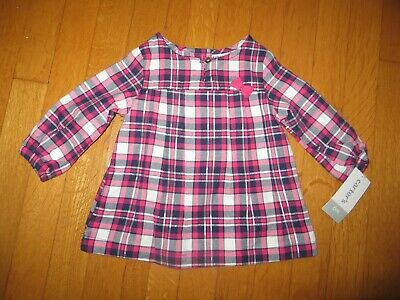 NEW Carter's girl's pink gray navy blue plaid blouse top 6 months silver glitter