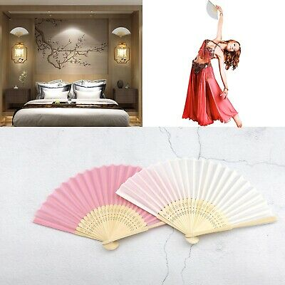 White/Pink Hand Held Fan Folding Bamboo Paper Wooden Wedding Events Decor 12pcs