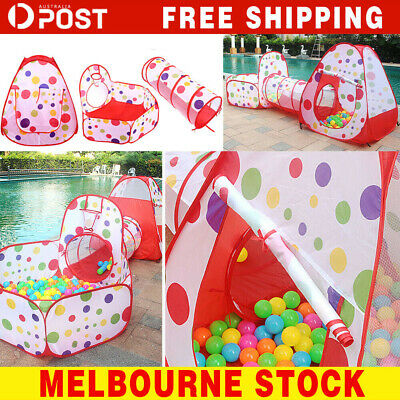 3 In 1 Play Tent Kids Toddlers Tunnel Set Pop Up Children Baby Cubby e#