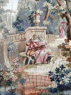 """Antique French Aubusson Tapestry Signed Dated Verdure 57""""x37"""" REDUCED"""