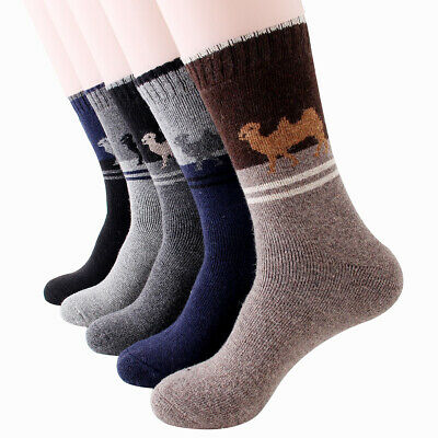 5 Pack Men Wool Cashmere Thick Warm Soft Camel Casual Sports Snow Socks Winter
