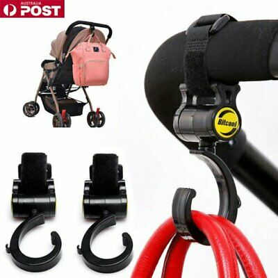 2pc Set F/Baby Stroller Hanger Bag Hooks Pram Cart Hook Accessories 360 RotateDM