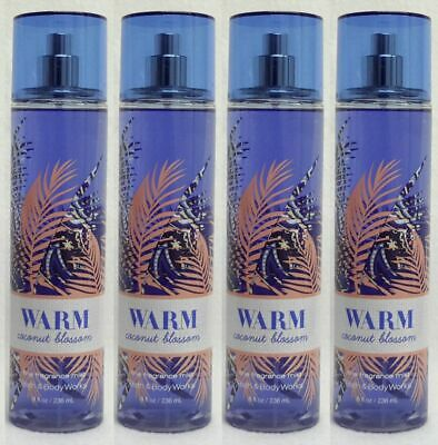 4 Bath & Body Works WARM COCONUT BLOSSOM Fine Fragrance Mist Spray