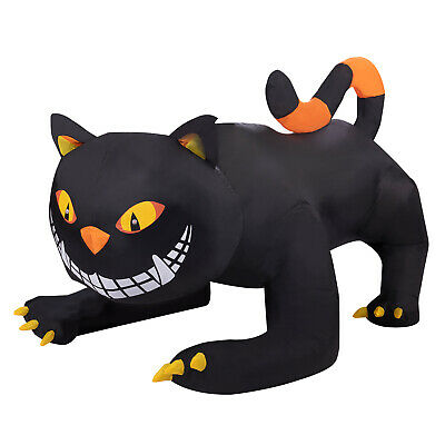 Halloween Yard Decor Inflatable Animated Turning Head Black Cat 6FT