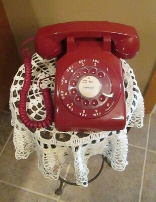 """Vintage AT&T WESTERN ELECTRIC 500 DM """" Cherry Red """" Rotary Dial Phone"""