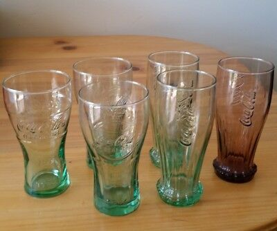 Collectable Coca Cola Glasses, six glasses 4 different and 2 the same