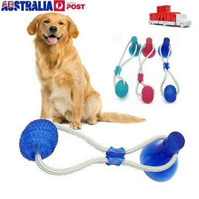 Pet Rubber Ball Toy With Suction Cup Dog Self-playing Durable Molar Chew Toys AU