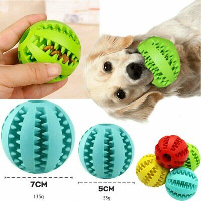 Dog Chew Ball Toy Rubber Dental Clean Teeth Healthy Treat Gum Bite Puppy Pet AU