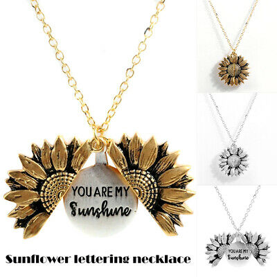You Are My Sunshine Open Locket Sunflower Pendant Necklace New OF