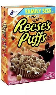Travis Scott's Reese's Puffs Breakfast Cereal Family Sized Limited Edition 20.7