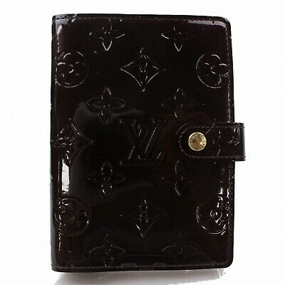 Authentic Louis Vuitton Diary Cover Agenda PM Browns Vernis 1300417