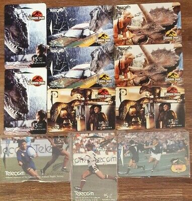 NEW ZEALAND - Selection of MINT Phonecards - Jurassic Park & Rugby