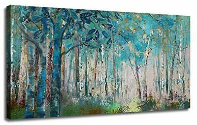 Canvas Wall Art Blue Tree Forest Landscape Picture Print Modern Abstract Artwork
