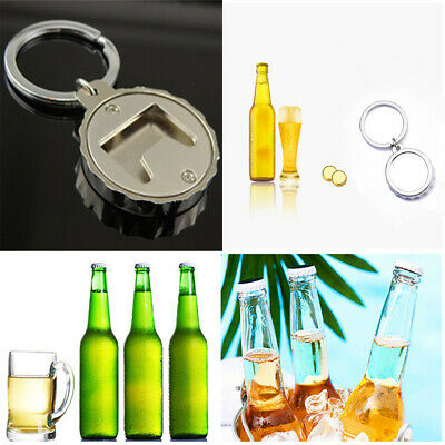 Unisex Creative Beer Bottle Cap-Shaped Bottle Opener Keychain Keyring Gift