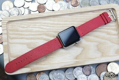 Red Epsom Cow Leather watch strap, Handmade watch band, Apple watch, iwatch