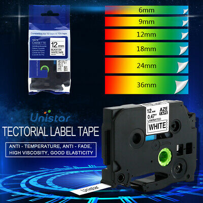 Compatible Brother P Touch Laminated Label Tape TZe231 6/9/12/18/24/16mm PTH110