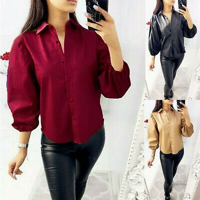 Ladies Womens Faux Leather Shirt Bell Cuff Sleeve Button Up Collared Blouse Top