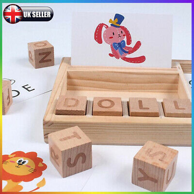 Baby 3-in-1 Spelling Learning Game Wooden English Spelling Words Enlightenment Q