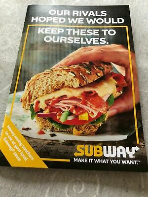 Subway Booklet of Vouchers x 8 - Valid to 3/12/19 - Central Region
