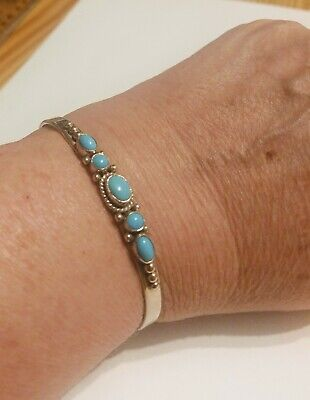 Turquoise Silver Beaded Native American Cuff Bangle