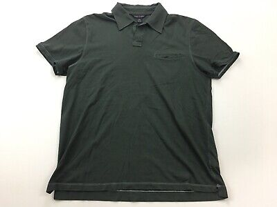 Banana Republic Pima Cotton Buttonless Polo Shirt Dark Grey Mens Large (L)