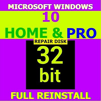 Windows 10 HOME & PRO 32 REINSTALL * Restore * Repair * Recovery * Disk (7,8,10)