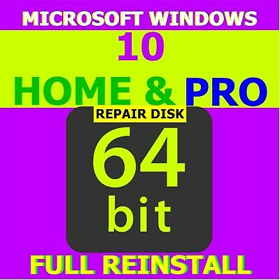 Windows 10 HOME & PRO 64 REINSTALL * Restore * Repair * Recovery * Disk (7,8,10)