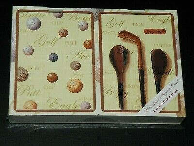 TEE TIME - DOUBLE DECK SET of GOLF Playing Cards - New Sealed