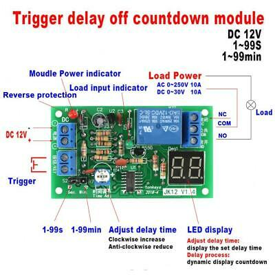 Mini DC 12V LED Display Modulo Temporizzatore Timer Regolabile Delay Turn OFF