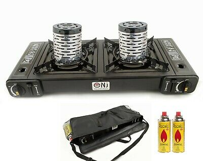 Double Burner Camping Gas Stove Portable Cooker Heater Bag Butane BBQ Outdoor UK