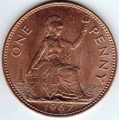 1967 One Penny Queen Elizabeth II Brilliant Uncirculated. A really nice coin