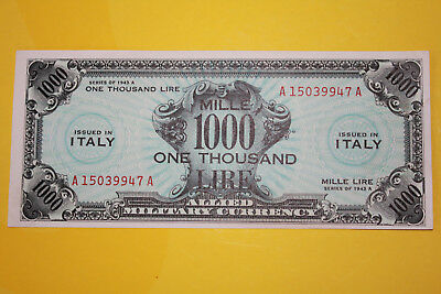 AM LIRE 1000 rara 1943  BILINGUE OCCUPAZIONE AMERICANA IN ITALIA