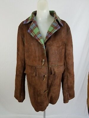 ORVIS Dark Brown Flannel Lined FAUX Leather Toggle Coat Jacket Womens Medium