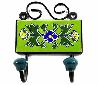 Beautiful Handmade Design Ceramic Tile Wall Hanging Hook Decorative. i75-58 UK