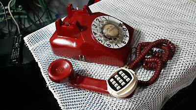 Bell System Western Electric Red Rotary Telephone w/ Soft Touch Auto Dialer 80