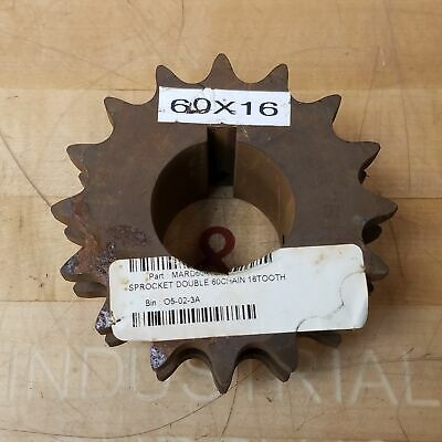"""Martin D60B16H 16T Double Roller Sprocket, 1-3/4"""" Bore - USED"""