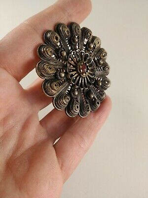 antique greek ottoman silver fine filigree pin brooch
