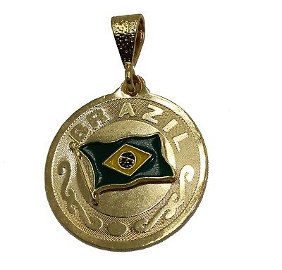Diamantados of Florida American Eagle with USA Flag Pendant 18k Gold Plated Pendant with 24 Inch Chain