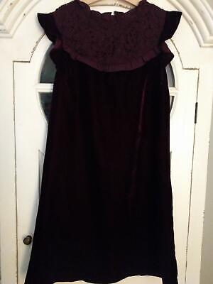 Next Girls Wine Velour Lace Trim Dress 14 Years 164cm Immaculate!