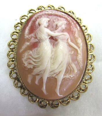 Antique Victorian Art Deco Shell Cameo Brooch~Two Graceful Dancing Ladies~Women