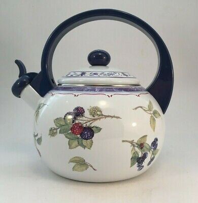 Villeroy & Boch Cottage Whistling Tea Kettle - Blue Handle 2 Quarts Htf