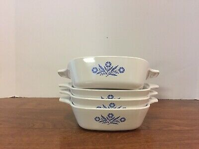Lot of 4 CORNING WARE P-41 Petite Pan baking dishes Blue Cornflower Excellent
