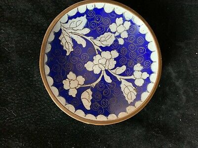 Antique Chinese Cloisonne Enamel Metal Dish Blue White Flower China 3.75""