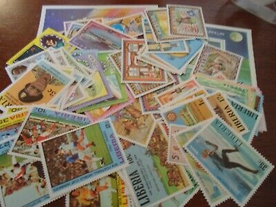Collection lot 100 different MNH stamps of Liberia